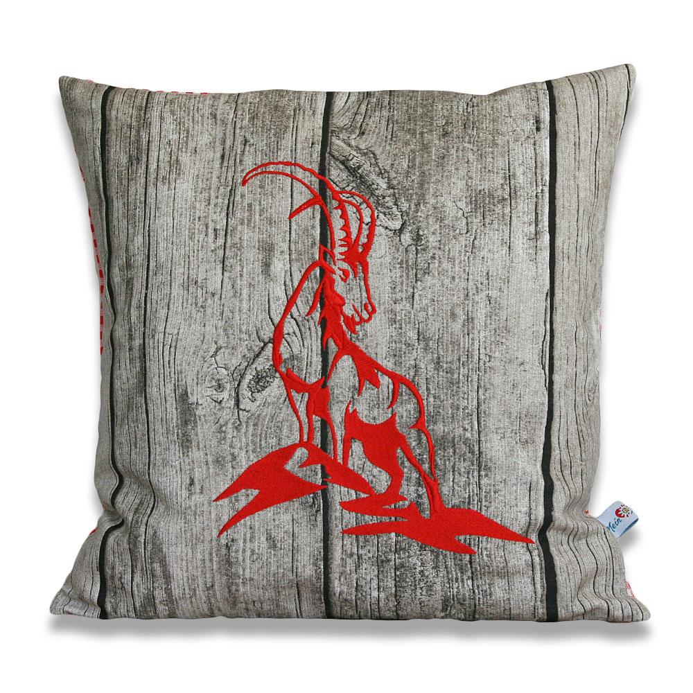 Zirbenkissen Alpenchalet Handarbeit - Steinbock rot gestickt - ca. 40 x 40