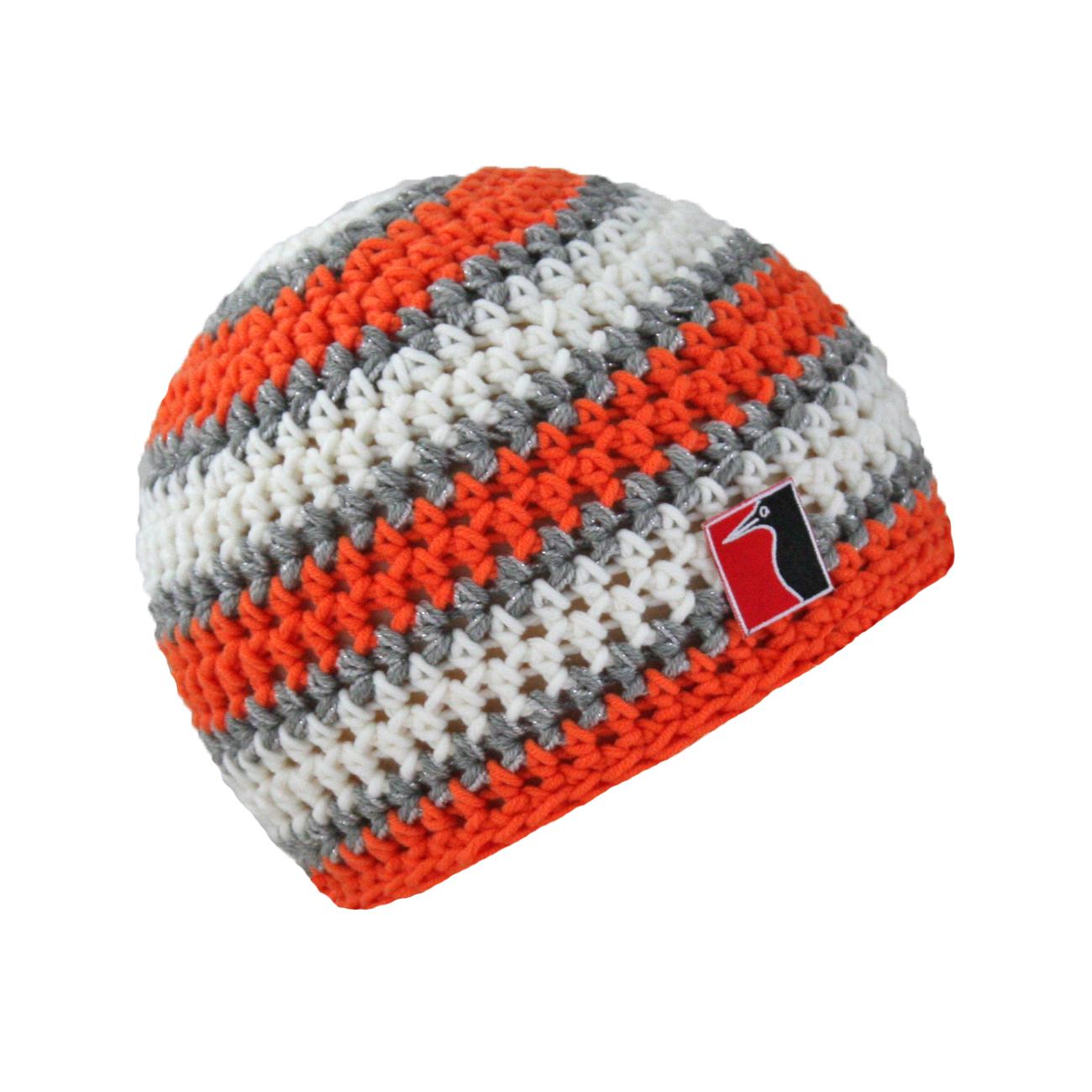 gehäkelte Sommermütze orange weiss grau