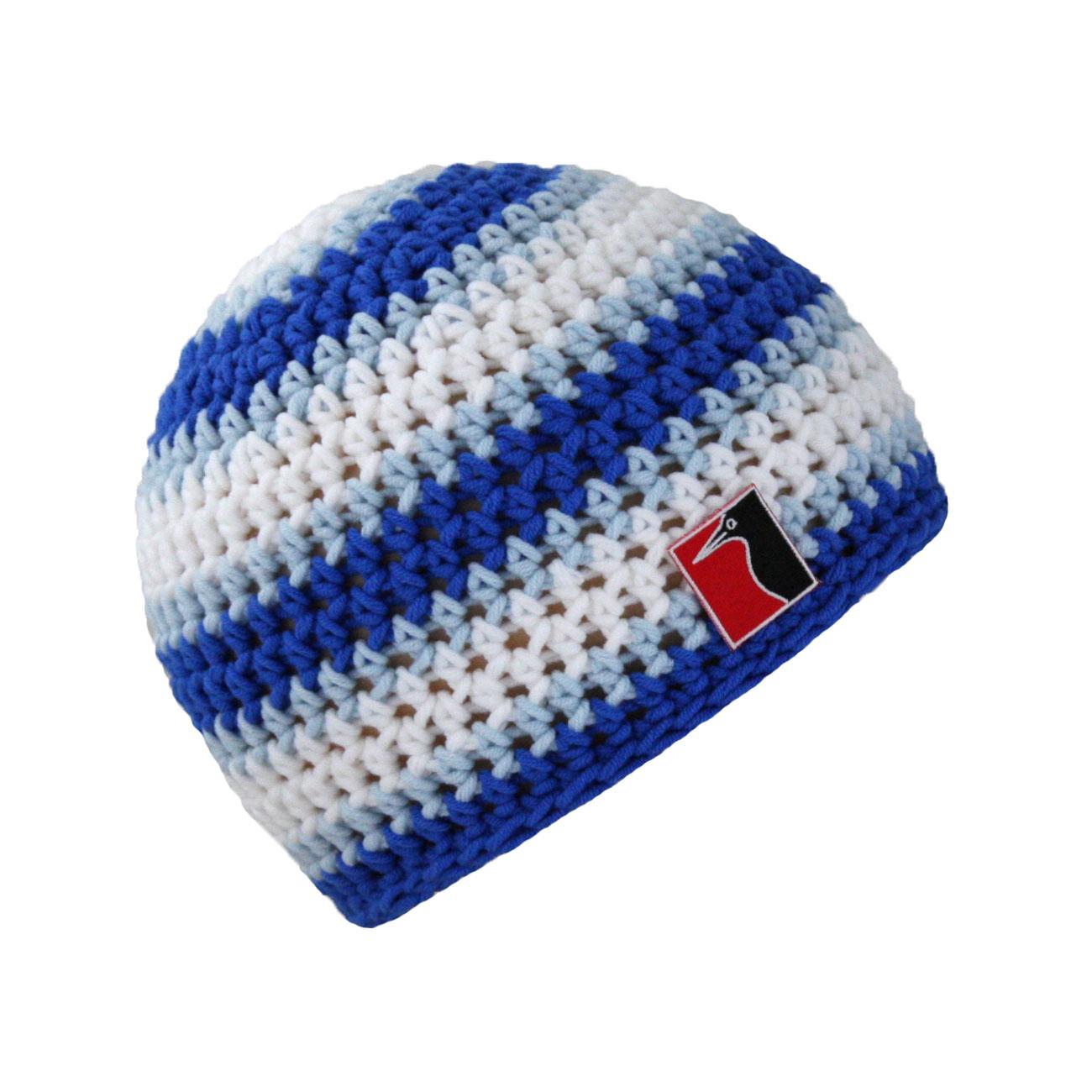 gehäkelte Sommermütze blau hellblau weiss