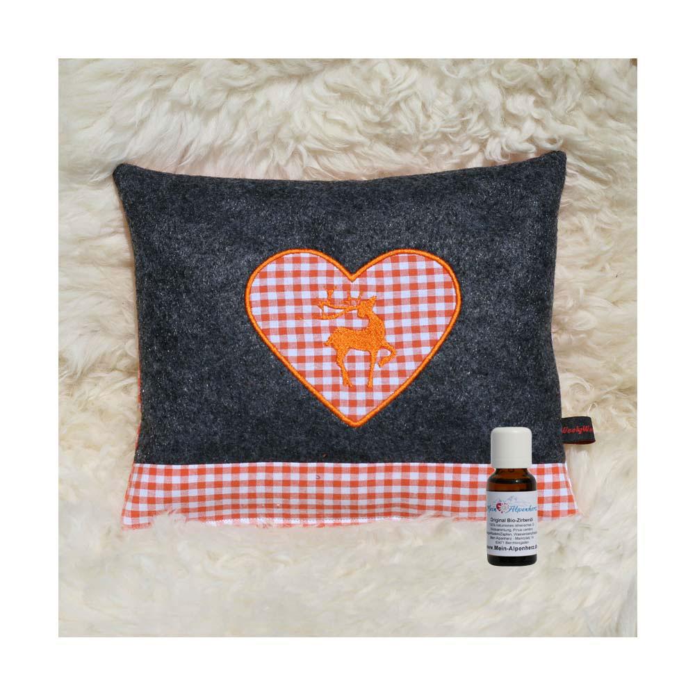 Zirbenkissen dunkelgrau mit Hirsch und Herz in orange + 5ml Bio Zirbenöl