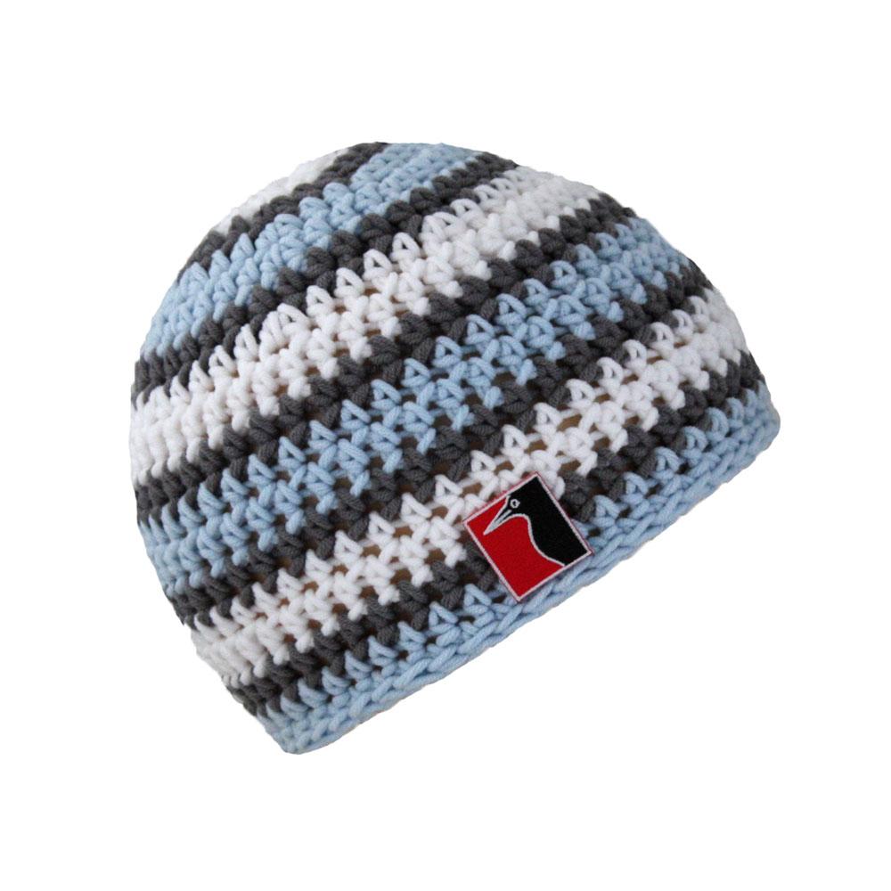 gehäkelte Sommermütze blau weiss grau