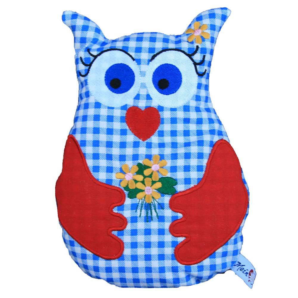 Zirbenkissen Eule für Baby oder Kinder - Handarbeit - Farbe blau
