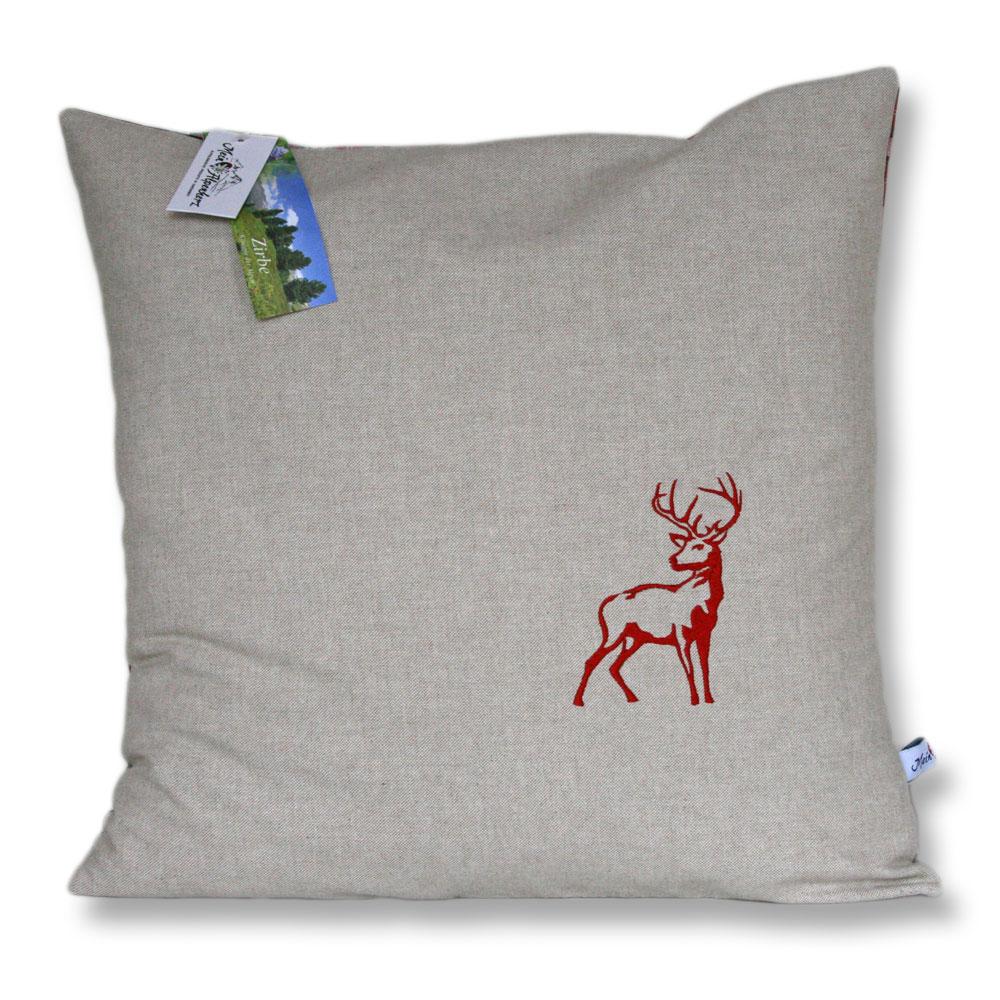 Zirbenkissen - Edel bestickt mit einem Hirsch in rot