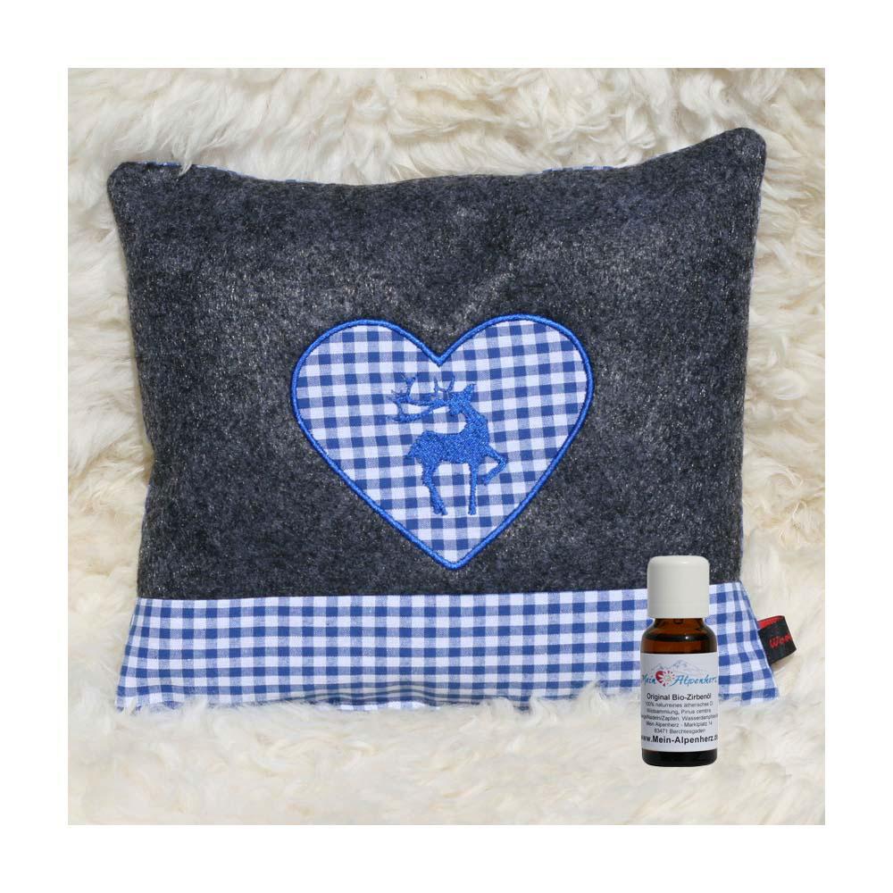 Zirbenkissen dunkelgrau mit Hirsch und Herz in blau + 5ml Bio Zirbenöl