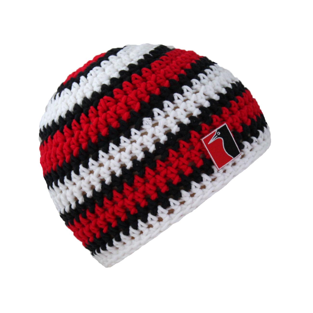 gehäkelte Sommermütze rot Streifen weiss schwarz