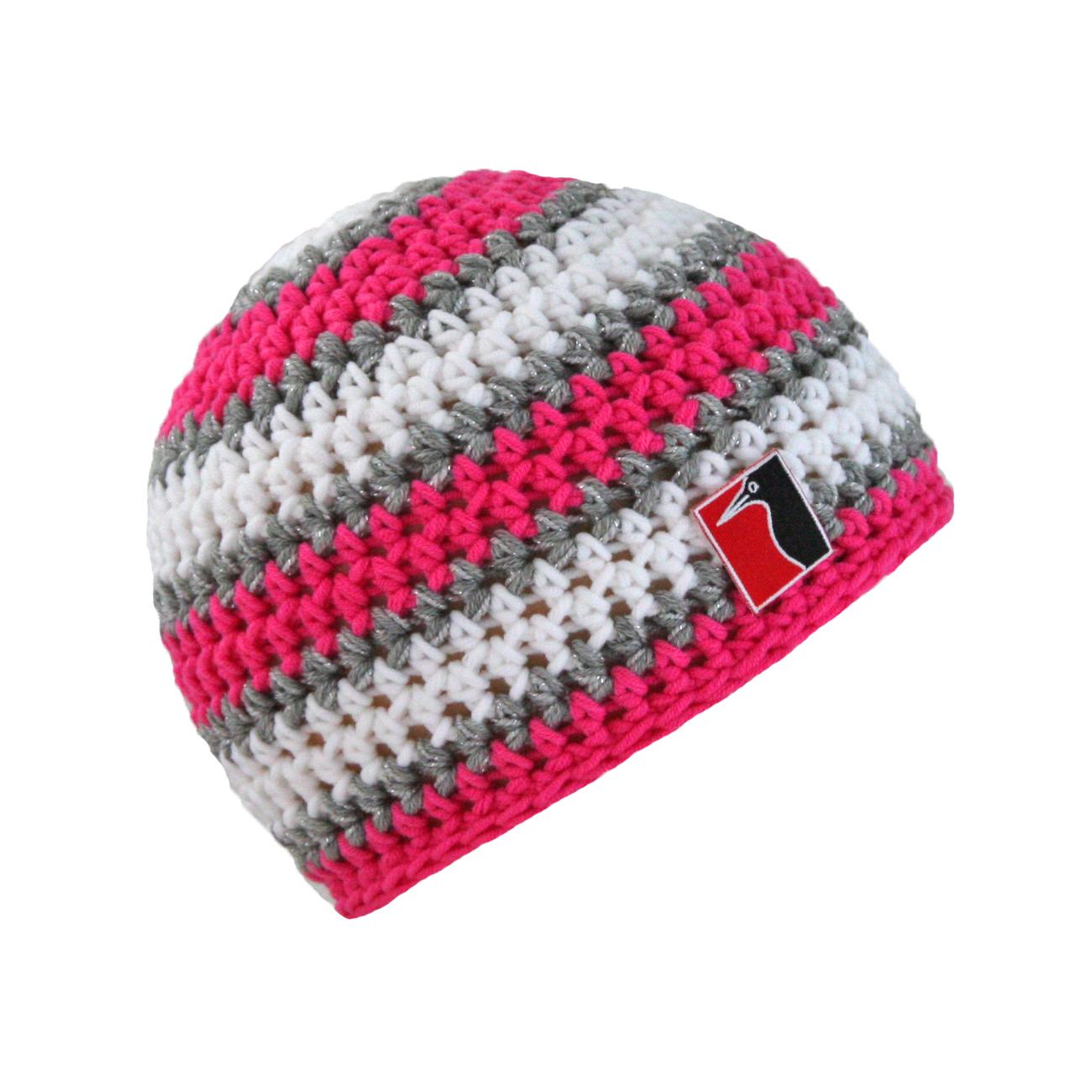 gehäkelte Sommermütze pink Streifen grau weiss