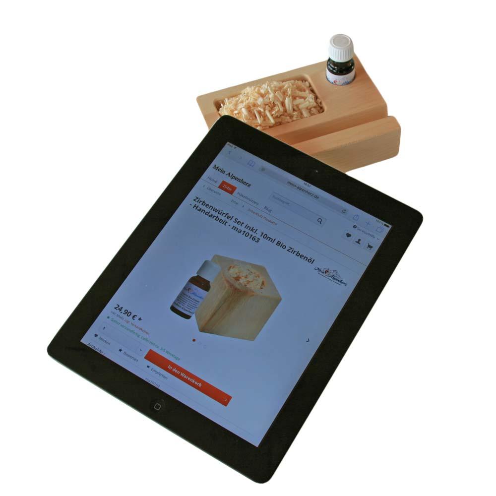 Zirbenholz Tablet Halter Halterung inkl. 5ml Bio Zirbenöl