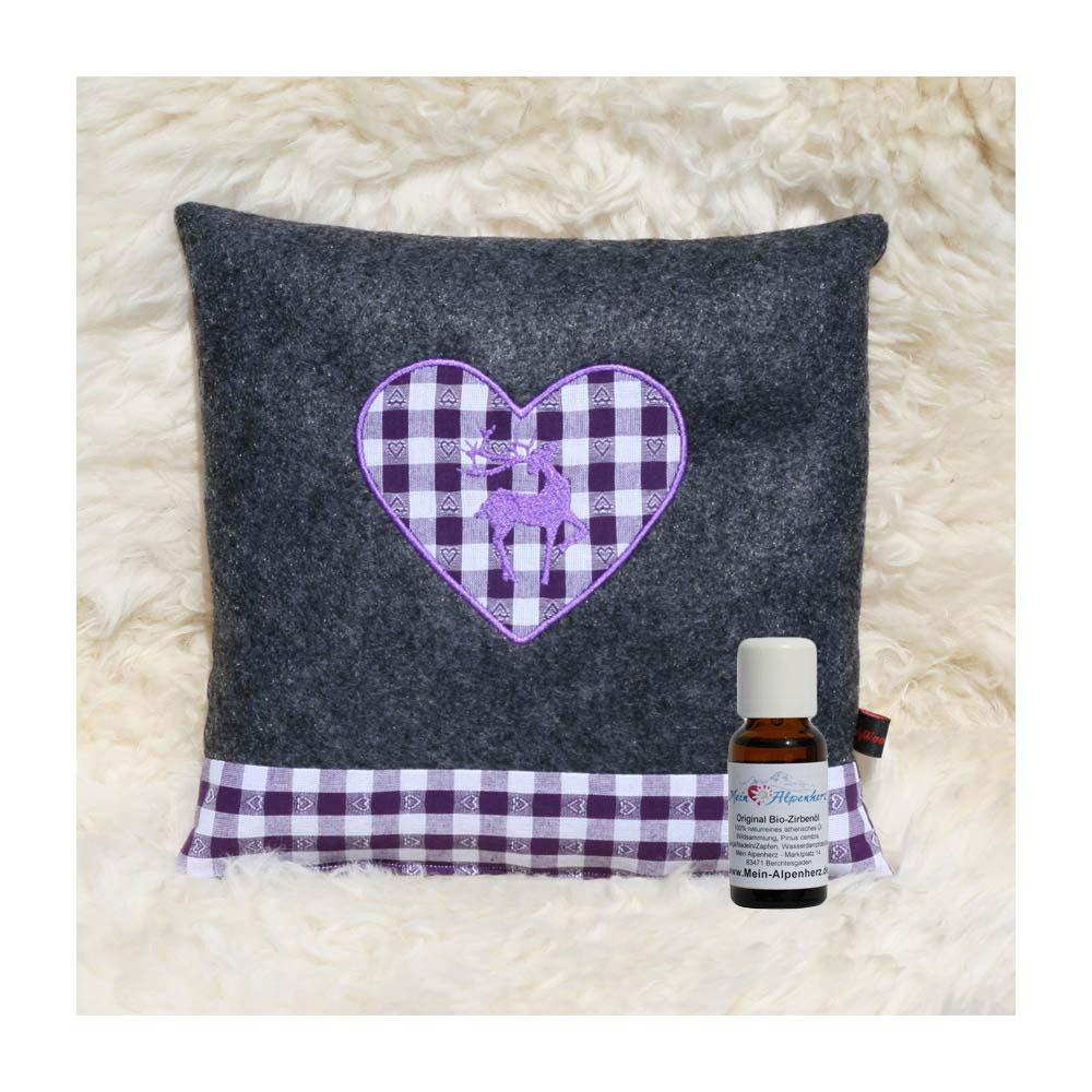 Zirbenkissen dunkelgrau mit Hirsch und Herz in violett + 5ml Bio Zirbenöl