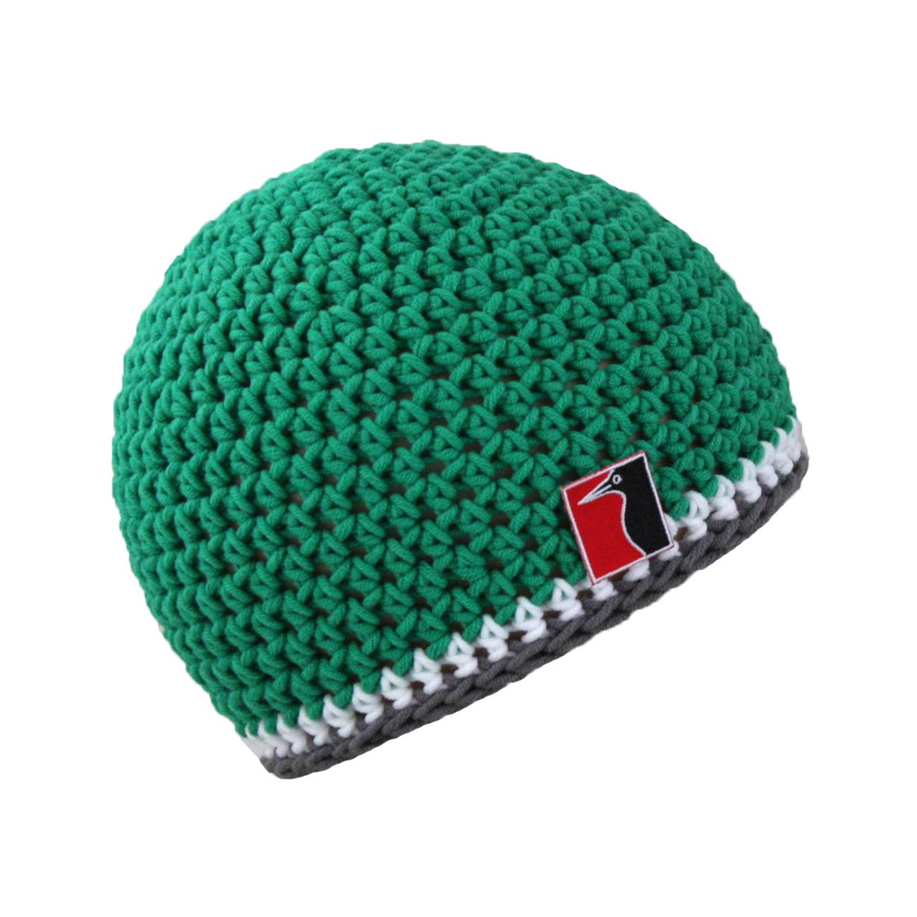 gehäkelte Sommermütze grün Streifen weiss grau