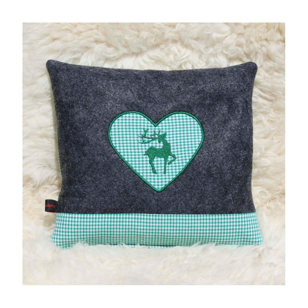 Zirbenkissen dunkelgrau mit Hirsch und Herz in grün