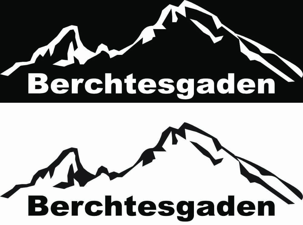 Auto Aufkleber Sticker Berchtesgaden - 1x schwarz + 1x weiss