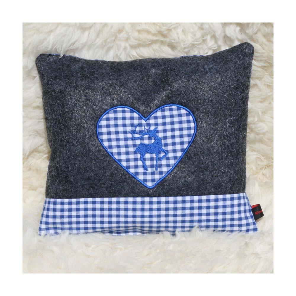 Zirbenkissen dunkelgrau mit Hirsch und Herz in blau