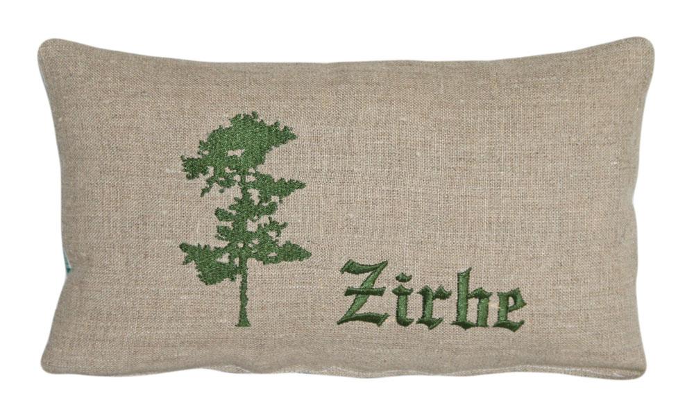 Zirbenkissen bestickt mit Zirbe in grün - ca. 28 x 16