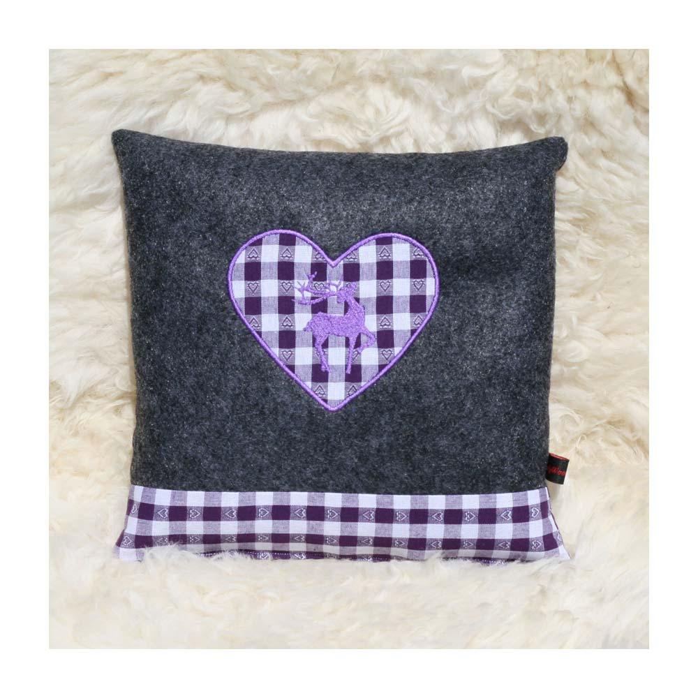 Zirbenkissen dunkelgrau mit Hirsch und Herz violett