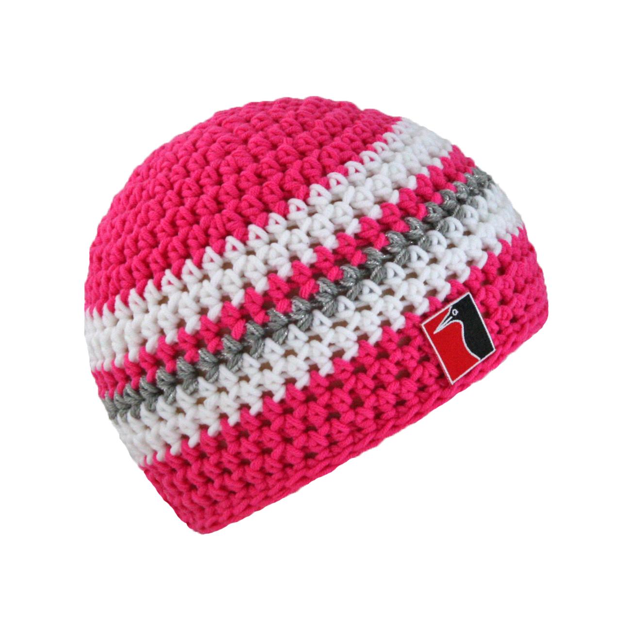 gehäkelte Sommermütze pink Streifen weiss grau