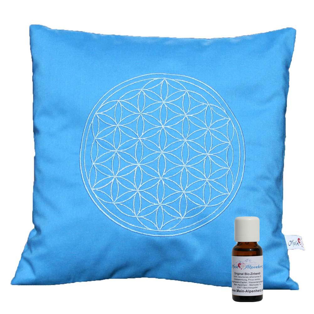 Zirbenkissen blau, mit Stickerei Blume des Lebens in silber + 5ml Bio Zirbenöl