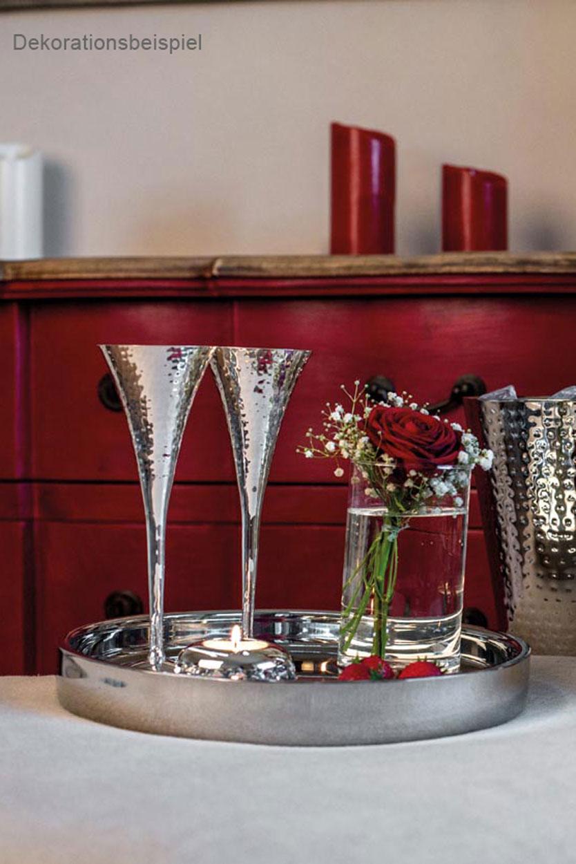 Edles Champagnerglas Champagnerkelch Sektglas versibert gehämmert